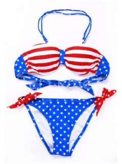Fashion–RELLECIGA New Halter Strap American Blue Flag Style Bikini