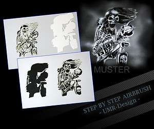 Airbrush Stencil Template 3 Steps AS 085 M Size 5,11 x 3,95