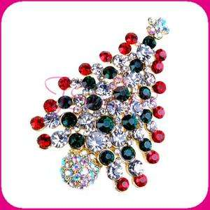 Gorgeous Pin Brooch Christmas Tree Crystal Holiday New