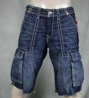 True Religion Jeans Mens ISAAC cargo shorts Law Dog blue MET841EH