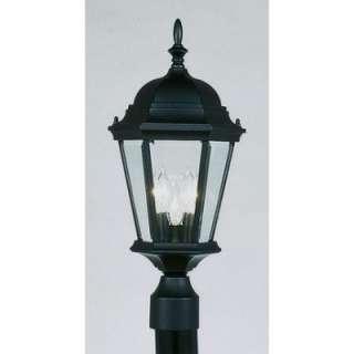 NEW 3 Light Med Outdoor Post Lamp Lighting Fixture, Black, Clear
