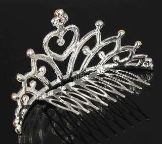 lila Crystal Rhinestone Heart Tiara Crown Small Hair Comb