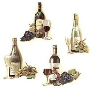 Set of 4 Wine Bottle Glass Grape Select A Size Waterslide Ceramic