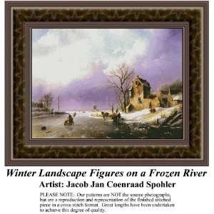 Winter Landscape Figures on Frozen River, Cross Stitch