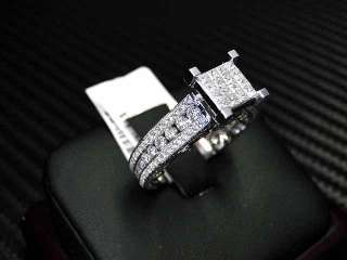 WOMENS DIAMOND ENGAGEMENT RING 14K WHITE GOLD PRINCESS