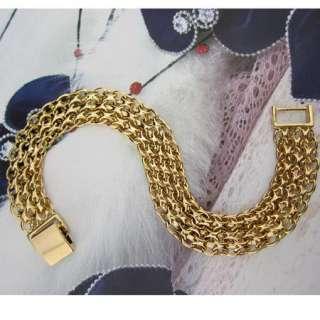 18K Yellow Gold Filled Women GF Bracelet Watch Chain Cuff Link