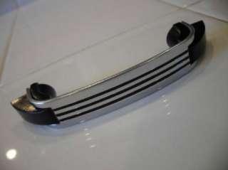 Vtg art deco 40s 50s CHROME DRAWER Pulls Handles BLACK LINES Plastic