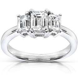 14k Gold 1ct TDW Diamond Three stone Ring (H I, SI1 SI2)