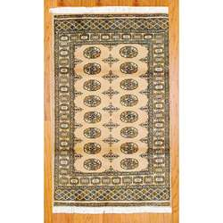 Hand knotted Bokhara Beige Wool Rug (3 x 5)