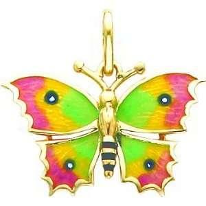 Green Pink Butterfly Pendant Charm Enamel 14K Gold Jewelry