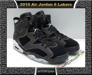 2010 Nike Air Jordan VI 6 Retro Black Gold Purple Los Angeles Lakers