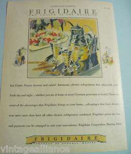 1928 Vintage FRIGIDAIRE Refrigerator Illustrated 20s Ad