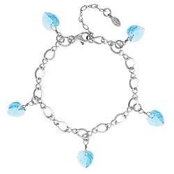 Aquamarine Crystal Heart Charm Bracelet