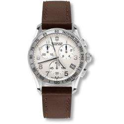 Swiss Army Mens Chrono Classic Silver Dial Brown Leather Strap Watch
