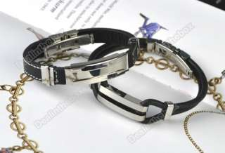 1pcs Charm Mens Cool Stainless Steel Rubber Bracelet Wristband