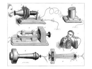 Engraving Diagram Showing Alexander Graham Bells Telephone System