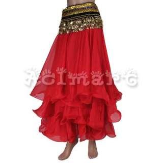 lady Belly Dance Skirt Chiffon 3 layer Circle Dress NWT