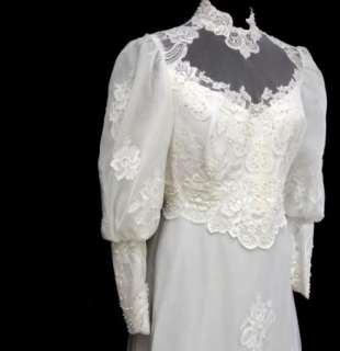 70s Vtg White Edwardian Wedding Prom Bridal Gown Dress High Neck