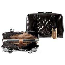 Moonsus Mika Black Leather Luxury Laptop Tote Bag