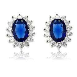 La Preciosa Sterling Silver Oval Blue Sapphire Cubic Zirconia Diana