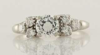 Gold 1ct Round Brilliant Cut Diamond Engagement Ring Size 4.75