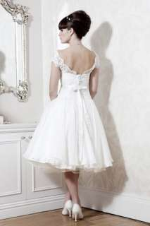 pretty white knee length Wedding bridal Dress party gown lace size