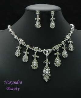 Bridal Wedding Classic RS Necklace Earrings Set SY2520
