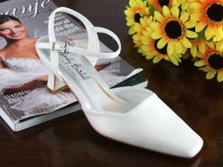 Landybridal Wedding Bridesmaid Shoes Accessories Mid Heel Satin White