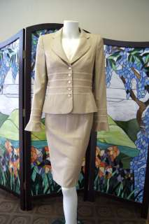 Escada 4 piece SUIT Jacket Skirt Pants (NWT) Blouse light Beige $1500