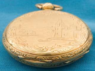 18K SOLID GOLD SWISS MADE MI TOBIAS KEYWIND POCKET WATCH TICKS