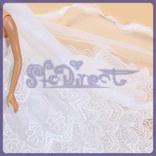 New Stylish Bridal Wedding Gown Princess Dress w/ Veil Flower for