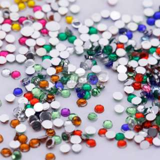 3000 Pcs 2.0mm Moon Shape Nail Art Rhinestones Glitters Wheel