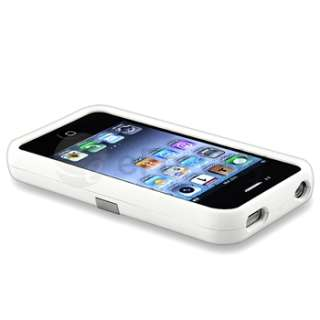 WHITE DELUXE HARD CASE COVER CHROME STAND RUBBERIZED CLIP FOR IPHONE 4
