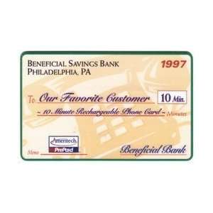 Collectible Phone Card 10m Beneficial Savings Bank   Philadelphia