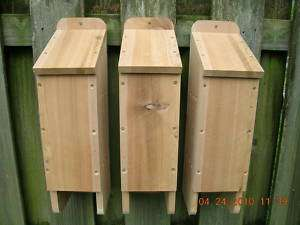 Four (4) Chamber Cedar Wood Bat House (Bat Box) 3 Pack
