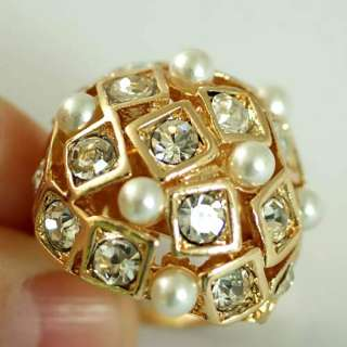 r6131 Charm Pearl Beads Gold plated Gemstone CZ Adjustable Ring