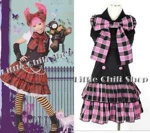 SWEET COLLECTION LOLITA Plaid DRESS+Big Bow Tie Pink