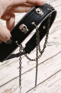 Gothic Punk Metal Skull Crown Leather Like Zipper Headband Headdress