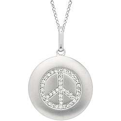 14k White Gold 1/6ct TDW Diamond Peace Sign Necklace
