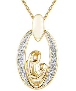 14k Yellow Gold Diamond Necklace of mother and child