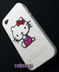 Hello Kitty White Silicone Case Cover for iPhone 4 4G