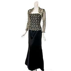 Womens Black/ Gold Lace Overlay Full length Dress