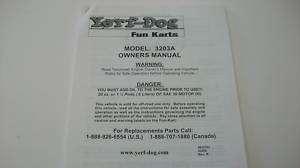 Go Kart Fun Cart Yerf Dog Owners Manual Model 3203A New