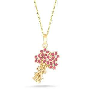 10k Yellow Gold Pink Enamel with Diamonds Flower Bouquet Pendant (0.02