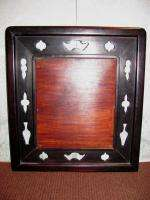 Antique Chinese Table Screen Porcelain and Hardwood 19th century