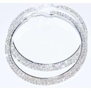 Dazzling Silver Tone 2 Row Crystals Rhinestones Hoop