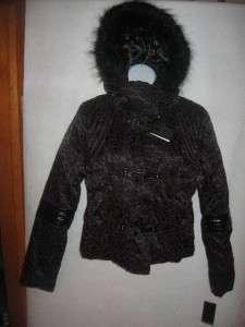 Baby Phat M Black Coat Burgundy Leopard Print NWT $225