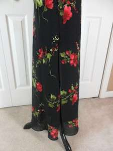 Size 4 Long Black & Red Cocktail Dress Floral VNeck Sleeveless