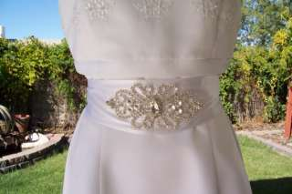 Rhinestone Beaded Bridal Wedding Dress Sash Belt Custom Couture White