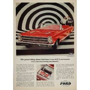 1966 Ad Red Ford Fairlane GT Automatic Convertible Car   Original